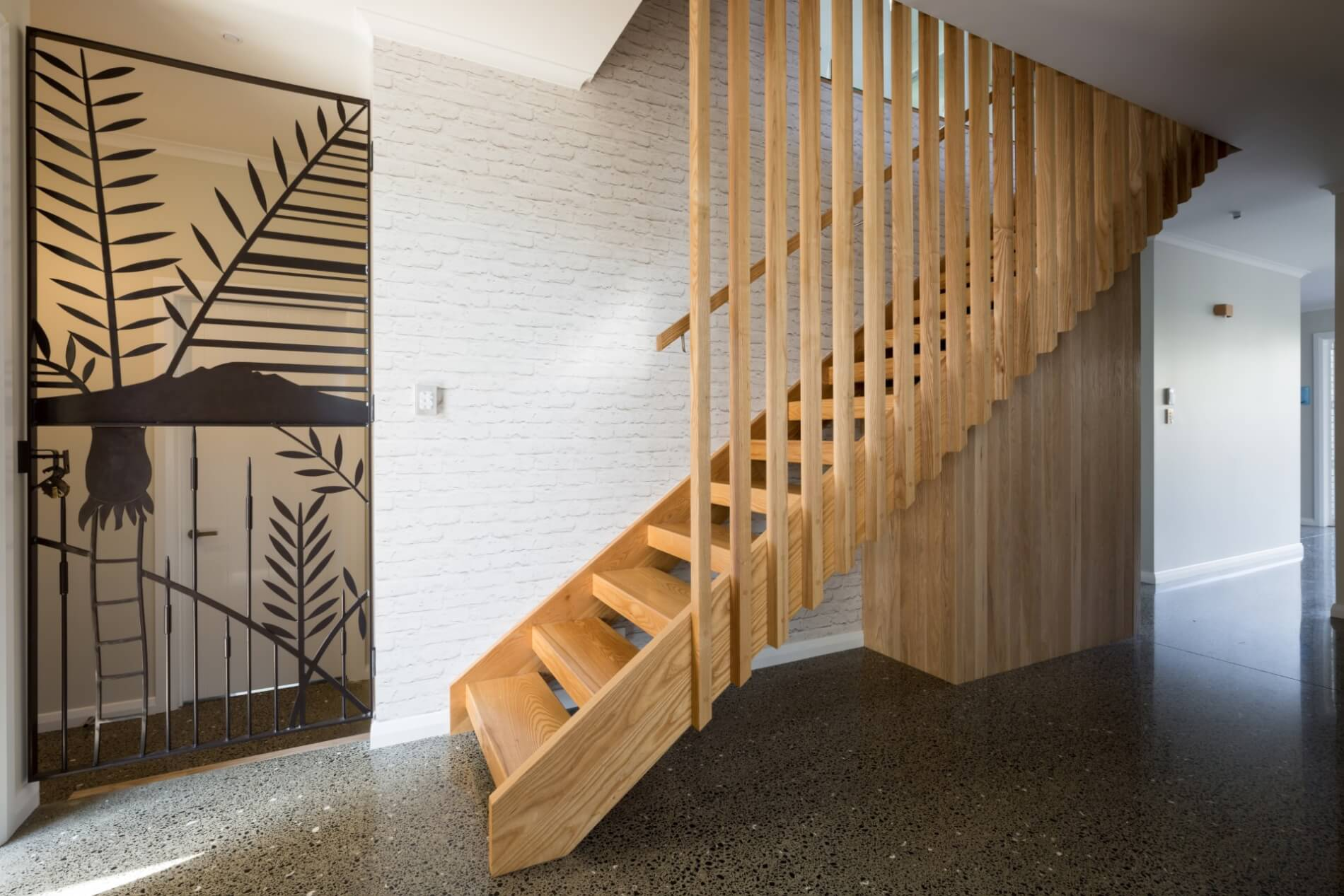 Floating timber stair and balustrade